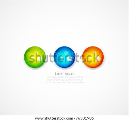 Three glossy sphere background - stock vector