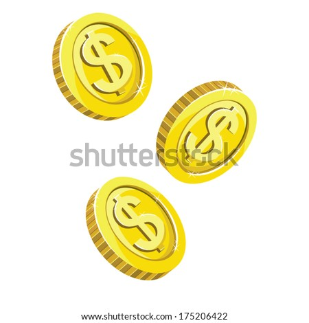 Three gold dropping coins isolated on white background. Vector Illustration  - stock vector