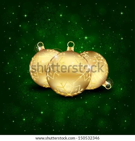 Three golden Christmas balls on a green background, illustration. - stock vector