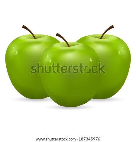 three green apples with water drops on white background - stock vector