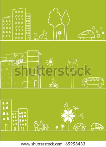 three green banners - stock vector