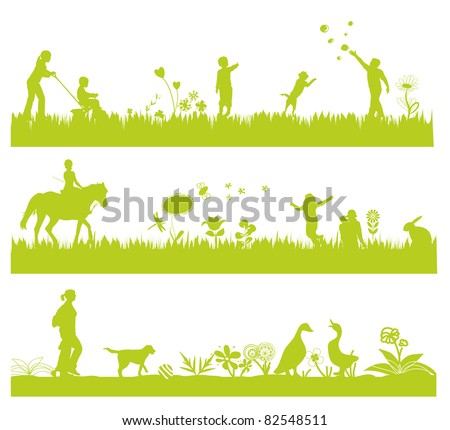 three green landscape banners with people, flowers, grass and animals - stock vector