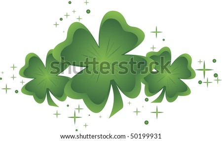 Three green shamrocks surrounded by sparkles - stock vector