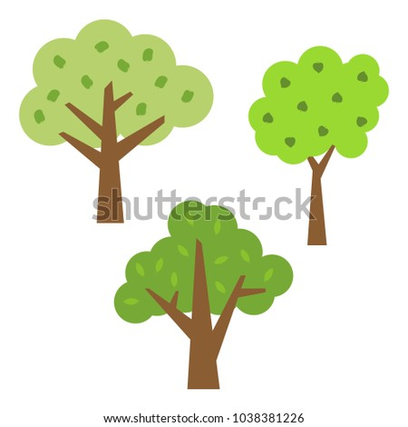 Three green trees with leaves. Vector illustration