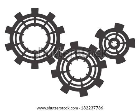 Three grey cogs on a white background - stock vector