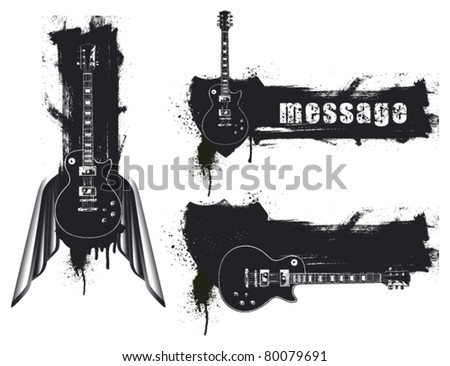 three grunge guitar banner - stock vector