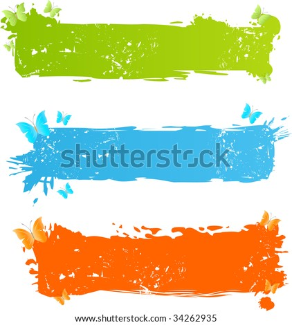 Three grungy bright banners with butterflies - stock vector