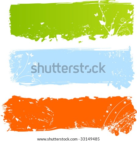 Three grungy multicolored banners with floral elements - stock vector