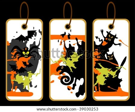 Three Halloween price tags isolated on a black background.