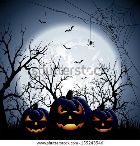 Three Halloween pumpkins on Moon background, illustration. - stock vector