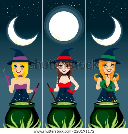 Three Halloween theme banners with sexy witch using cauldron to prepare magic spell potions under the moon - stock vector