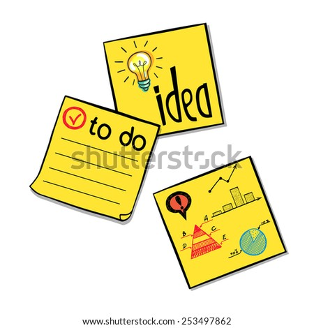 Three hand drawn classic yellow paper stickers with doodle sketches and notes on them. Yellow memo sticks isolated on white background. - stock vector
