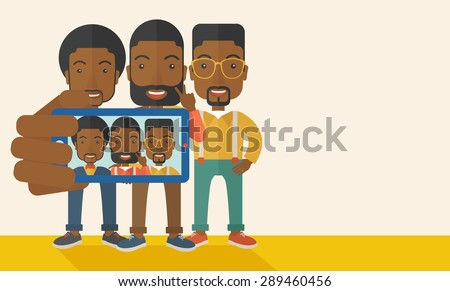 Three happy black men taking a selfie using smartphone. Photo concept. A Contemporary style with pastel palette, soft beige tinted background. Vector flat design illustration. Horizontal layout with - stock vector