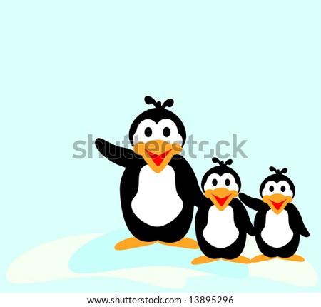 Three happy waving penguins - stock vector