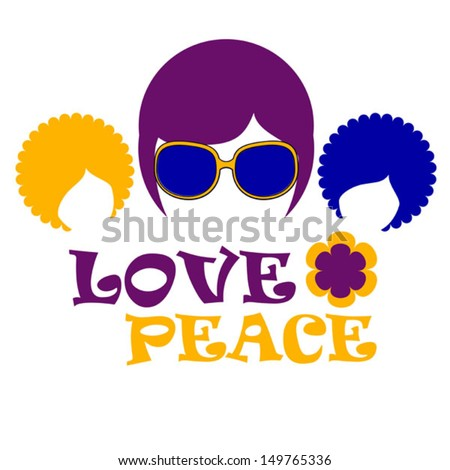 three hippie - stock vector