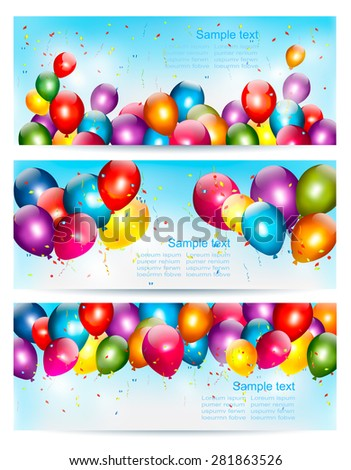 Three holiday birthday banners with balloons. Vector. - stock vector