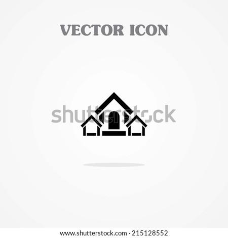 Three Home Icon - stock vector
