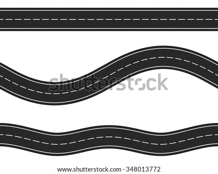 Three Horizontal Asphalt Roads On White Background Vector Eps10 Illustration