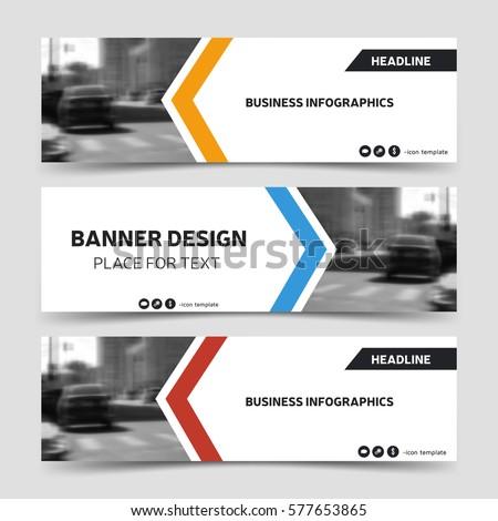 three horizontal business banner templates vector stock vector 577653865 shutterstock. Black Bedroom Furniture Sets. Home Design Ideas