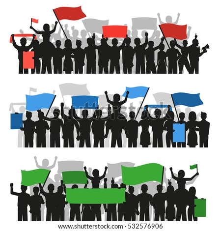 Three horizontal flat banners with crowds of monochrome protesting people silhouettes holding colorful flags isolated vector illustration