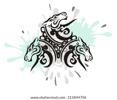 Three horse heads with splashes - stock vector
