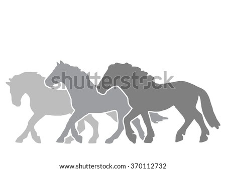 three horse race run silhouettes on a white background