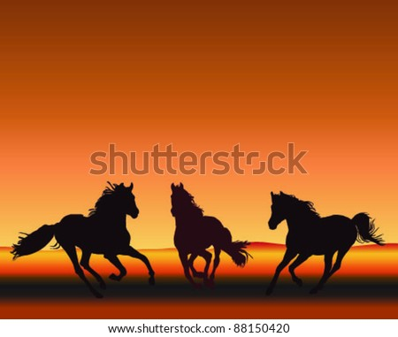 Three horses gallop silhouetted on sunset, vector