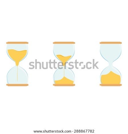 Three hourglass vector icon set. Sand watch. Sand glass. Empty, full hourglass