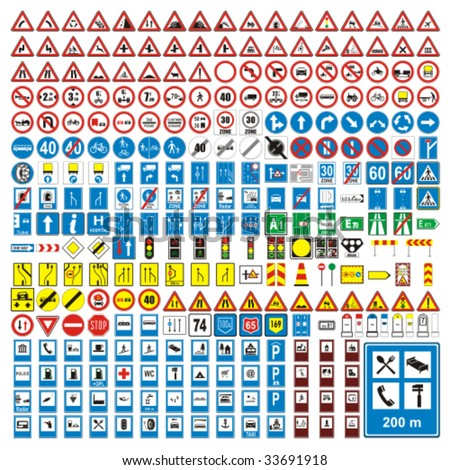 three hundred fully editable vector european traffic signs with details ready to use - stock vector