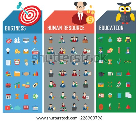 Three Icon set,Business,Human resource and Education icons,clean vector - stock vector