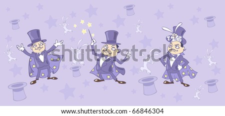 three Illustration of a magician  with a rabbit out of the hat and magic stick in his hands - stock vector