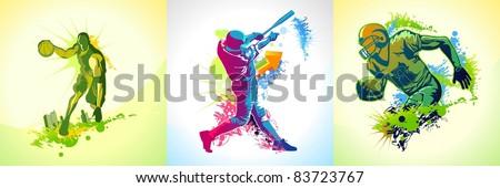 three illustrations with a basketball, football and baseball player - stock vector