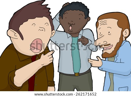 Three isolated astonished men pointing their fingers - stock vector