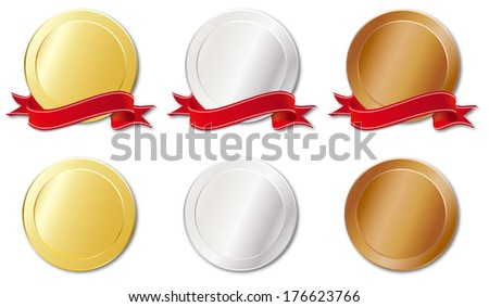 Three kinds of medals - stock vector