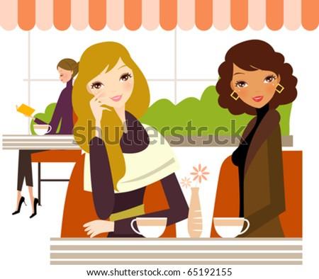 Three ladies drinking coffee - stock vector
