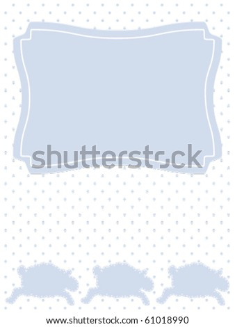 Three Lambs on Dotted background Baby Announcement. This illustration is part of a set of three included in my Portfolio. - stock vector
