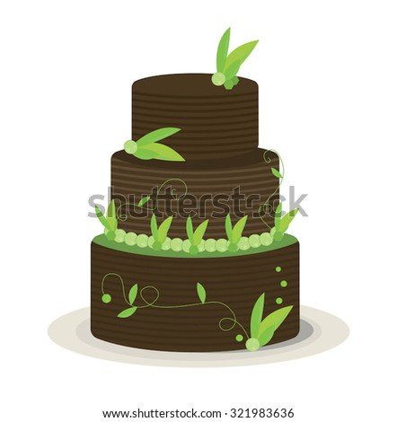 Three layer chocolate cake with a stripe to its chocolate covering, and covered in leaf and other green decorations