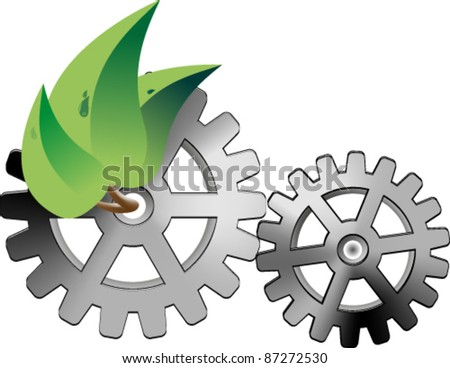 Three leaf of a tree and two gears - stock vector