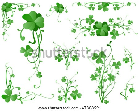 three leaves clover design elements - stock vector