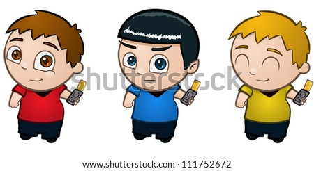 Three little boys in costume - vector illustrations