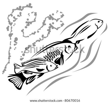 Stock Vector Trout Line Art on sea fishing grouper