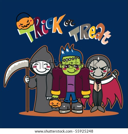 Three little kids in funny monster costumes going for Trick or Treat on Halloween - stock vector