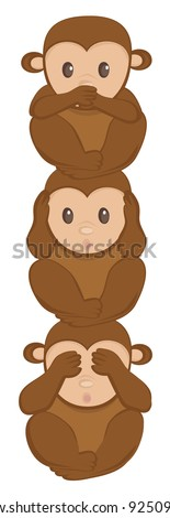 Three little monkeys totem vector - stock vector