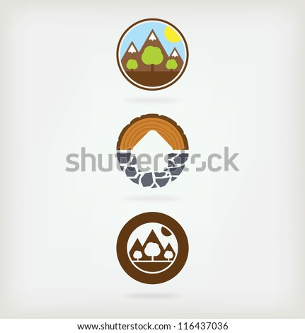 Three logo for eco-friendly products - stock vector