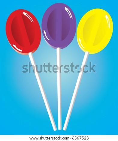 Three lollipop suckers - stock vector