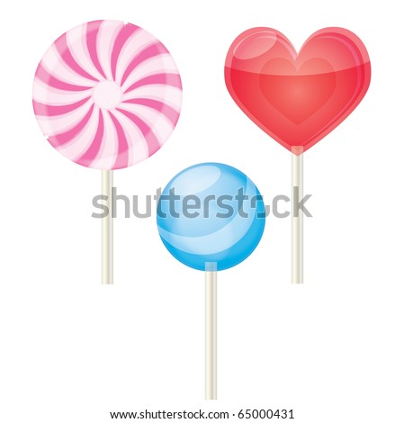 Three lollipops on a isolated background,vector - stock vector