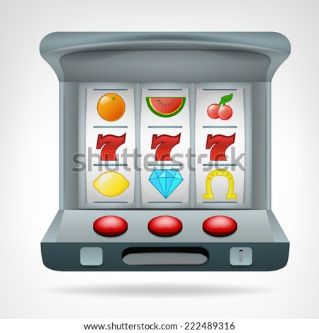 three lucky seven on slot machine object vector illustration - stock vector