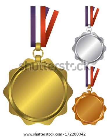 Three medals for the winners illustration - stock vector