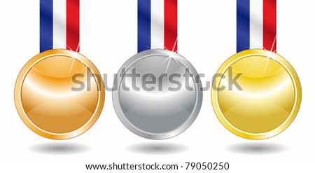 Three medals - gold, silver and bronze - stock vector