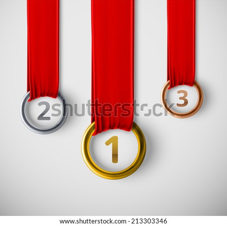 Three medals hanging, eps 10 - stock vector